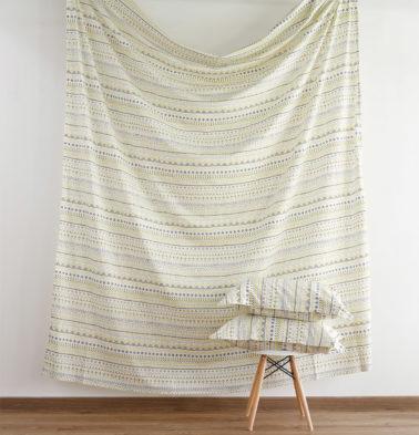 Mosaic Print Cotton Fitted Bedsheet Lemon Yellow