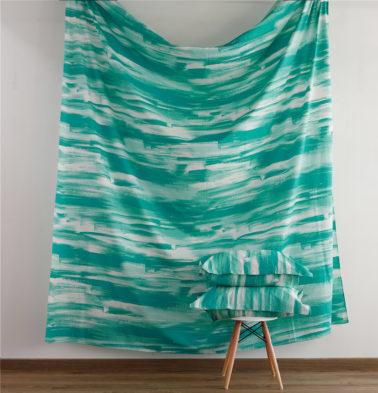 Brushstroke Cotton Fitted Bedsheet - Green