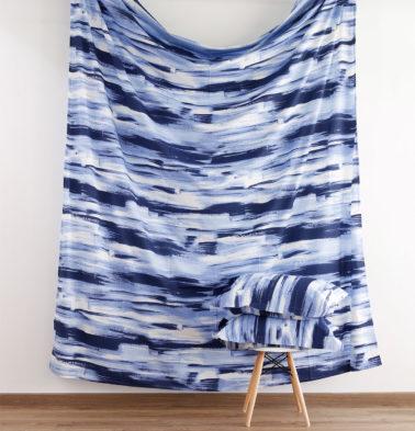 Brushstroke Cotton Fitted Bedsheet - Blue