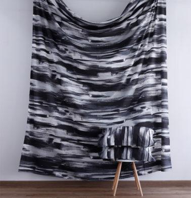 Brushstroke Cotton Fitted Bedsheet - Black