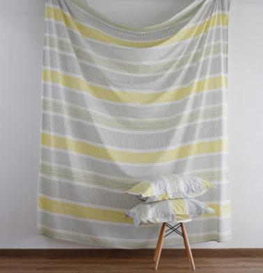 Broad Border Cotton Duvet Cover Yellow