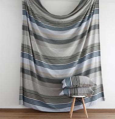 Melange Stripes Cotton Fitted Bedsheet Blue