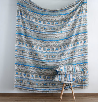 Aztec Print Cotton Fitted Bedsheet Blue