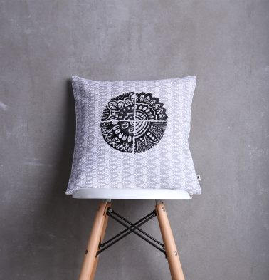 Embroidered Cotton Cushion cover Grey/Black 16