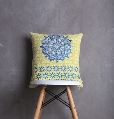 Embroidered Cotton Cushion cover Lemon Yellow/Blue 16