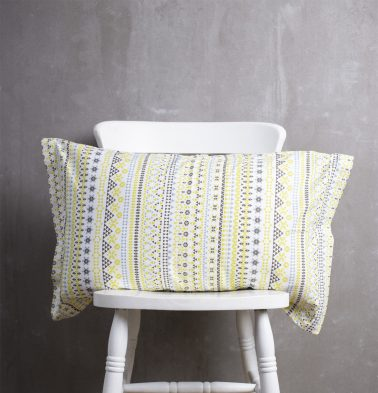Mosaic Print Cotton Pillow Cover Lemon Yellow