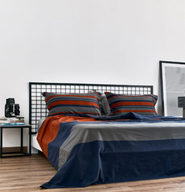 Bold Stripes Cotton Duvet Cover Blue/Orange