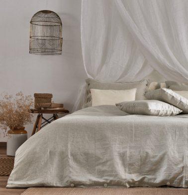 Linen Duvet Cover Silver Grey