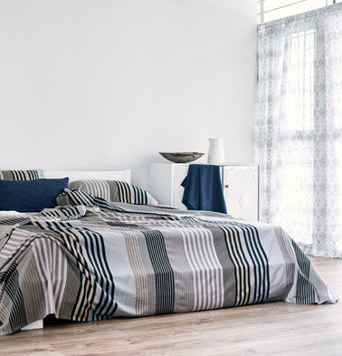 Melange Stripes Cotton Duvet Cover Blue