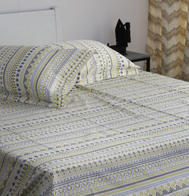 Mosaic Print Cotton Bed Sheet – Lemon Yellow- With 2 pillow covers