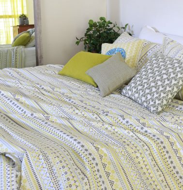 Mosaic Print Cotton Duvet Cover Lemon Green