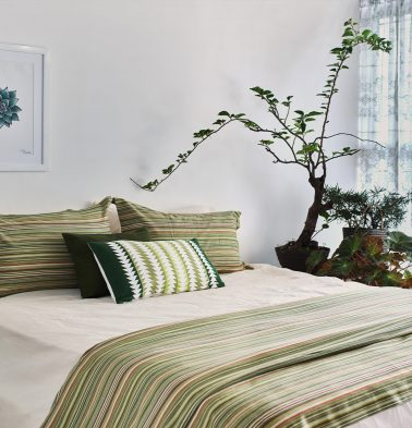 Woven Stripes Cotton Duvet Cover Green