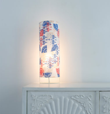 Semi Cylindrical Table Lampshade Red/Blue
