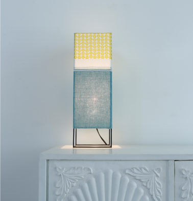 Cuboidal Table Lampshade Teal/Yellow