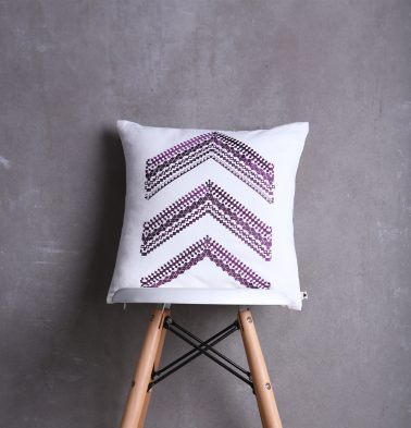 Arrow Stripes Cotton Cushion cover White/Purple 16
