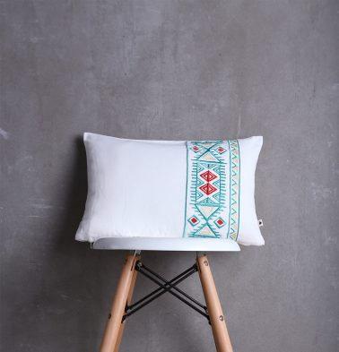 Aztec Embroidered Cotton Cushion cover White 12