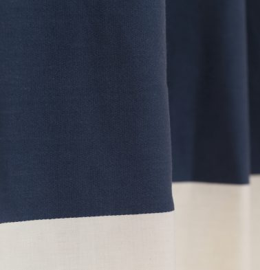 Broad Stripe Cotton Custom Blinds Dark Blue/White