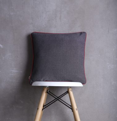 Chambray Cotton Cushion cover Grey Red 16
