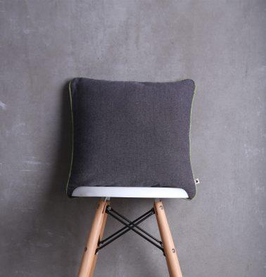 Chambray Cotton Cushion cover Grey/Green  16