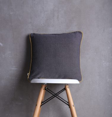 Chambray Cotton Cushion cover Grey/Mustard 16