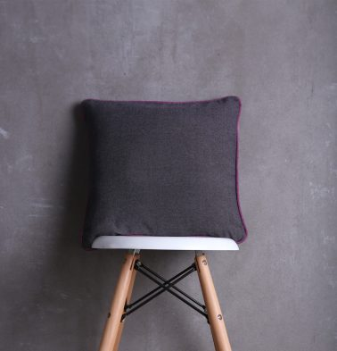 Chambray Cotton Cushion cover Grey/Purple 16