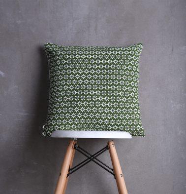 Flora Printed Cushion cover Green/White 18