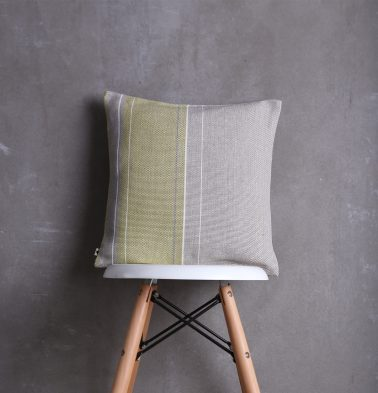 Handwoven Verical Stripes Cotton Cushion Cover Lemon Green/Grey 16