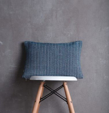 Handwoven Cotton Cushion cover Blue Line 12