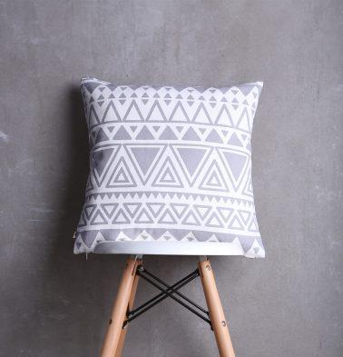 Magic Triangles Cotton Cushion cover Grey 18