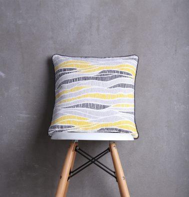 Wave Texture Cotton Cushion cover Lemon Chrome 16