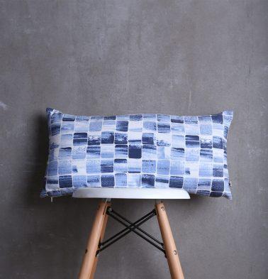 Brushstroke Cubes Cotton Cushion cover Blue 12