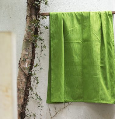 Honeycomb Cotton Bath Towels Green
