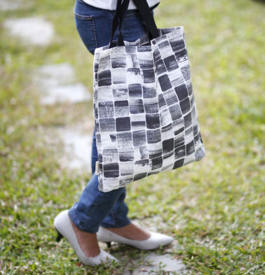 Brush Stroke Cubes Cotton Tote Bag Black