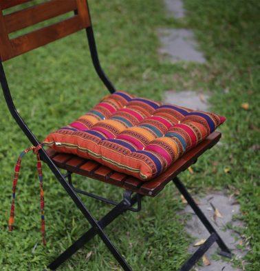 Vintage Weave Cotton Chairpad Multi Color