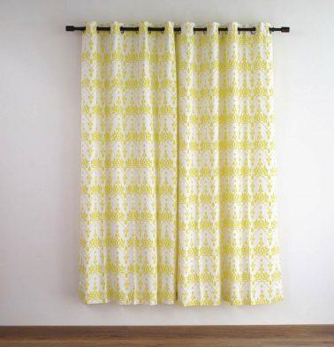Customizable Curtain, Cotton - Arabic Chevron - Lemon Yellow