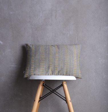 Broken Stripes Cotton Cushion cover Yellow/Grey 12
