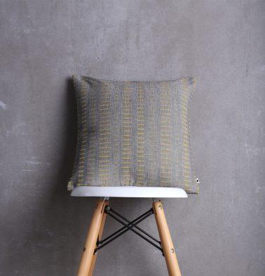 Broken Stripes Cotton Cushion cover Yellow/Grey 16