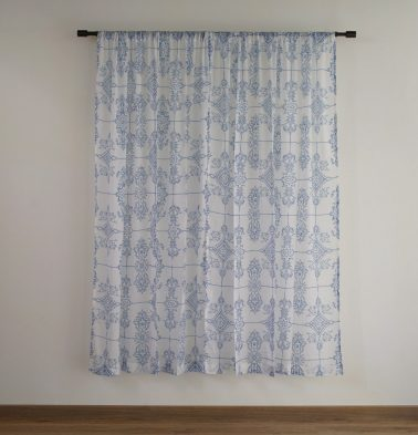 Classic Lines Cotton Sheer Custom Curtain Blue