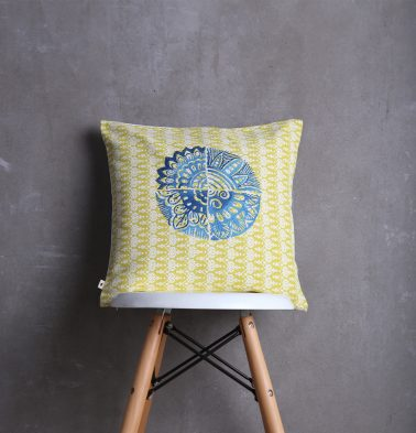 Embroidered Cotton Cushion Cover Yellow/Blue 16