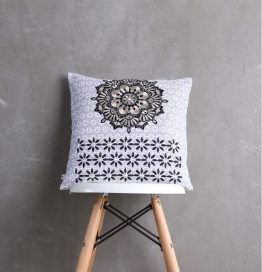 Embroidered Cotton Cushion cover Grey 16