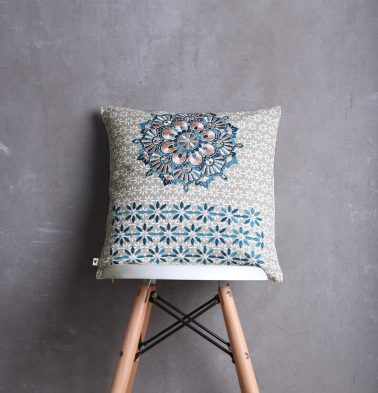 Embroidered Cotton Cushion cover Silver Grey Blue 16