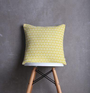 Flora Cotton Cushion cover Lemon Yellow 16