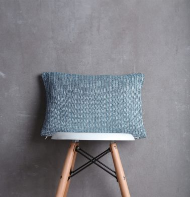 Handwoven Cotton Cushion Cover Dusk Blue 12