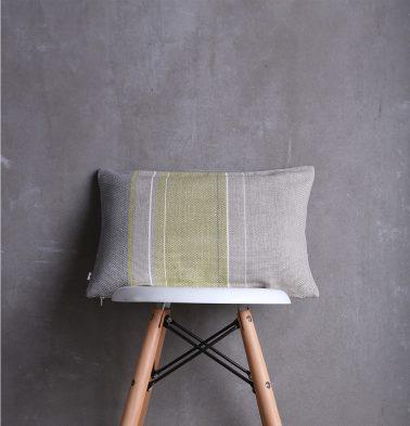 Handwoven Vertical Stripes Cotton Cushion Cover Lemon Green/Grey 12