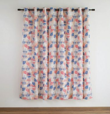 Customizable Curtain, Cotton - Scattered - Red Blue