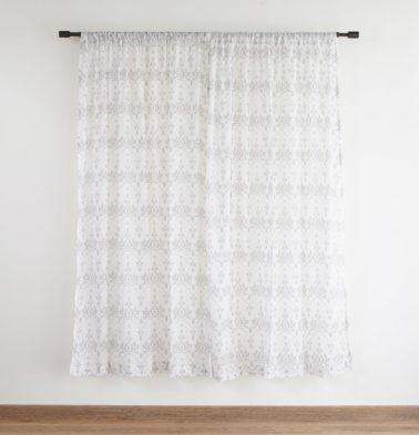 Customizable Sheer Curtain, Cotton - Arabic Chevron - Dove Grey