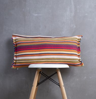 Handwoven Stripe Cotton Cushion Cover Red 12
