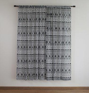 Customizable Sheer Curtain, Cotton - Magic Triangle - Black