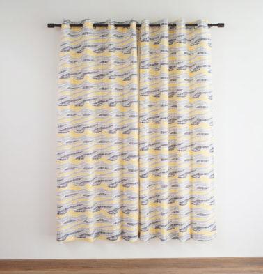 Customizable Curtain, Cotton - Wave Texture - Lemon Chrome