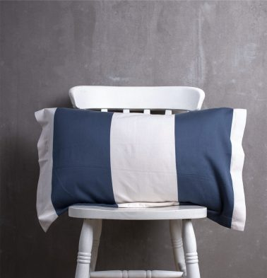 Woven Broad Stripe Cotton Pillow Cover Dark Blue/White
